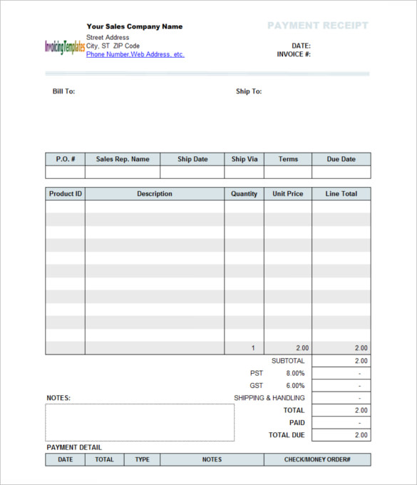Payment Receipt Template - 10+ Free Word Excel - Template Section - cash payment receipt