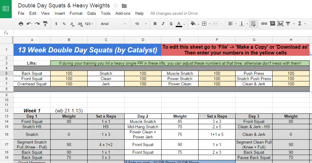 weight training spreadsheets