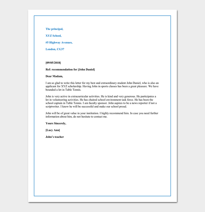 letter of recommendation for child school