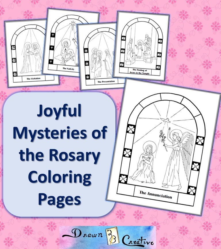 Free Printable Mysteries of the Rosary Coloring Pages - Drawn2BCreative