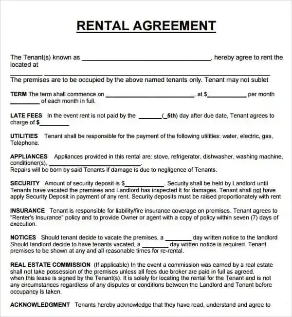 examples of rental agreements - Ozilalmanoof