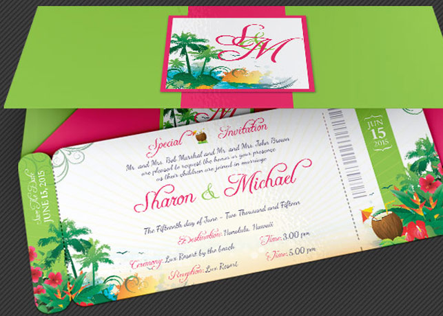 boarding pass wedding invitations template