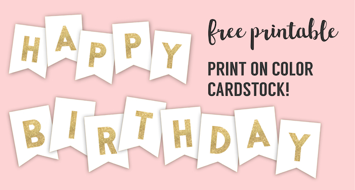 Happy Birthday Banner Printable Template - Paper Trail Design