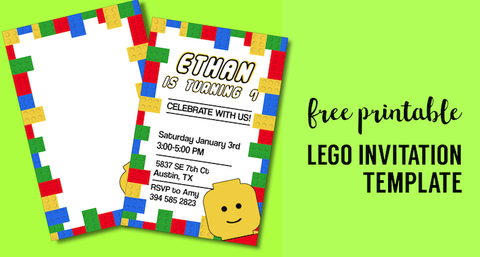 Free Printable Lego Birthday Party Invitation Template - Paper Trail