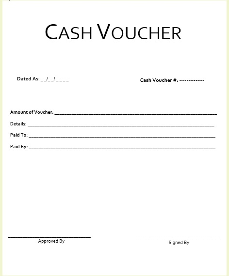 8 Free Sample Cash Voucher Templates - Printable Samples - example of a voucher