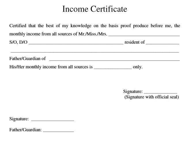 9 Free Sample Income Certificate Templates - Printable Samples