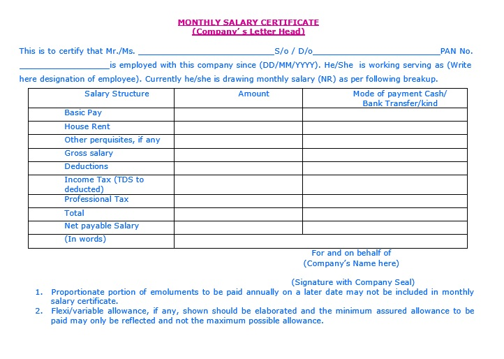 9 Free Sample Income Certificate Templates - Printable Samples - format of salary certificate letter
