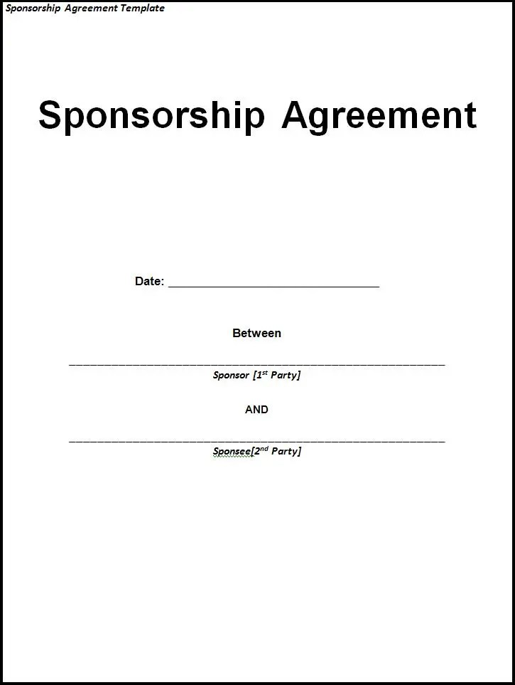 10+ Sponsorship Agreement Templates Free Word Templates - Free Sponsorship Form Template