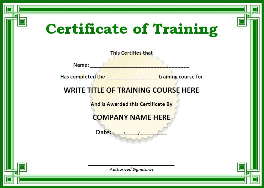 Sample Training Certificate Free Word Templates