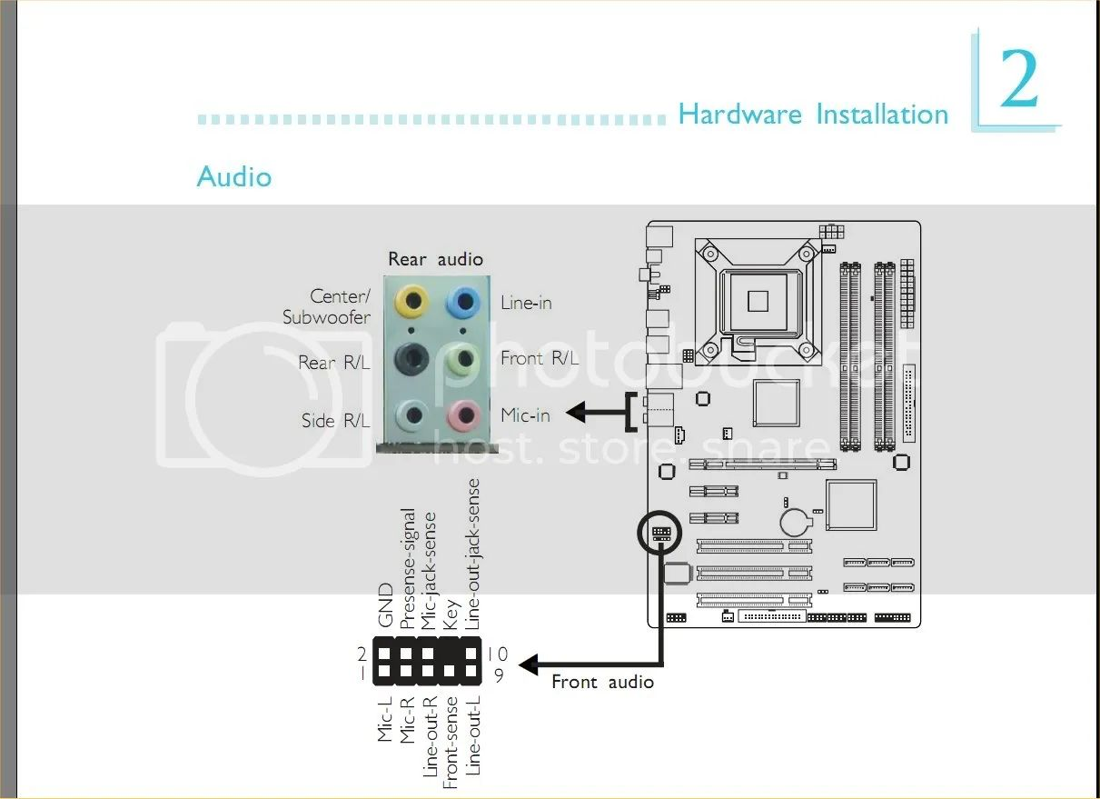 motherboard audio pinout