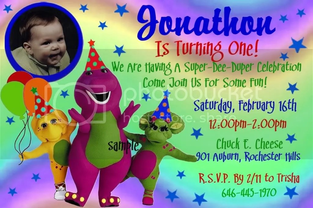 The Gallery For Gt Barney And Friends Birthday Invitations