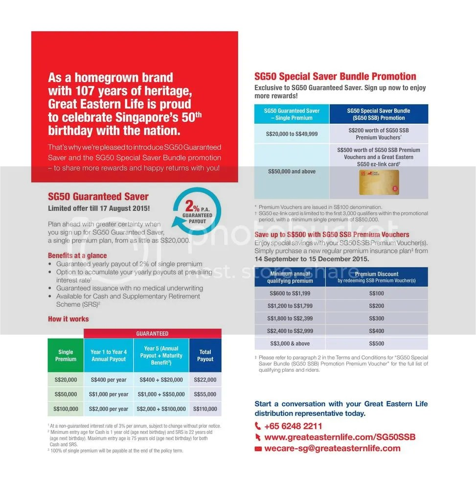You Can Book Me Ltd Hot Great Eastern Sg50 Guaranteed Saver Limited Offer As