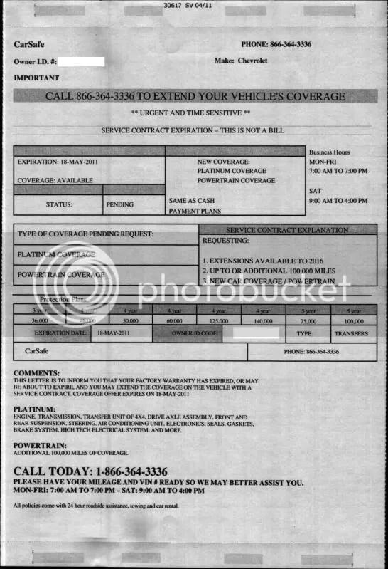 Extended Service Contract Scammer - CorvetteForum - Chevrolet