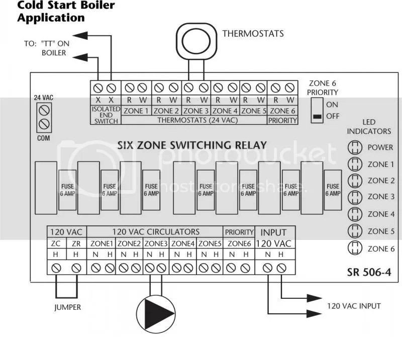Connecting a Taco Switching relay to a honeywell 8148A aquastat