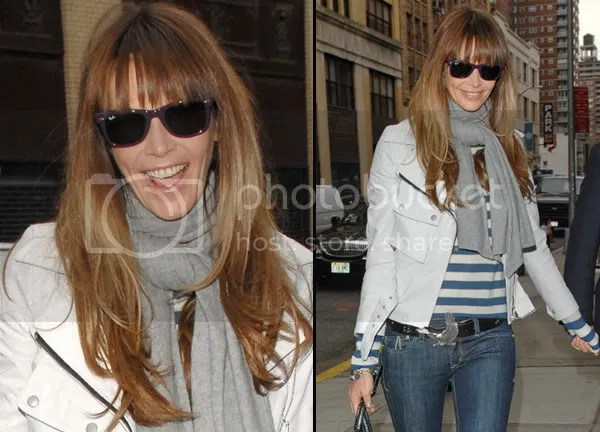 Elle MacPherson wears ray-bans and the fringe hair trend