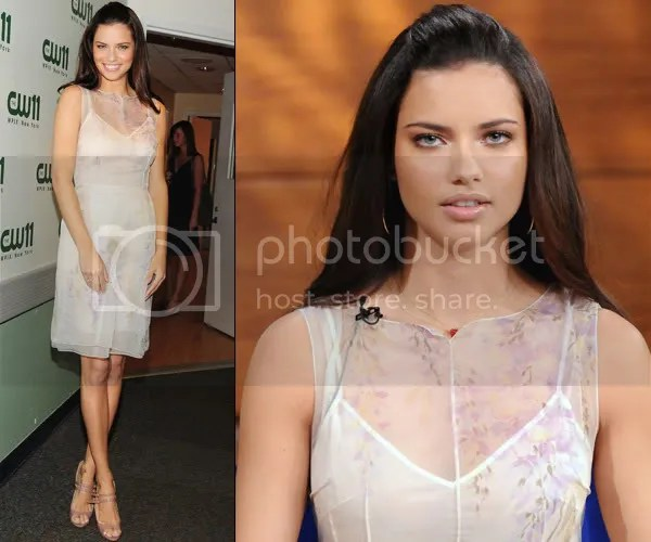 Adriana Lima wears the sheer trend in a nude dress