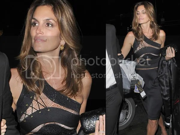 Cindy Crawford in a see-through/sheer Preen dress
