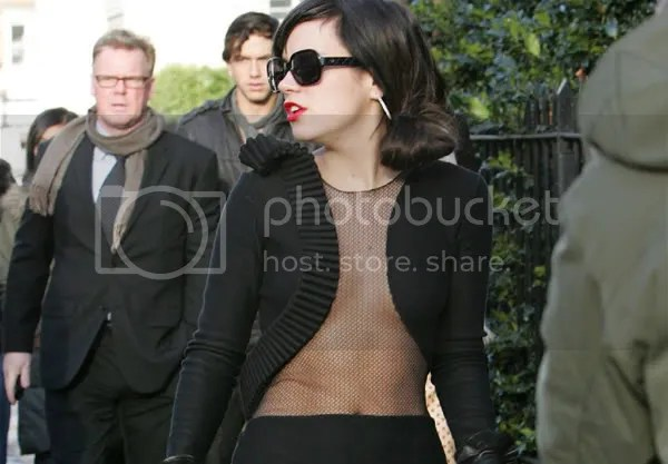 Lily Allen in a see-through Armand Basi dress