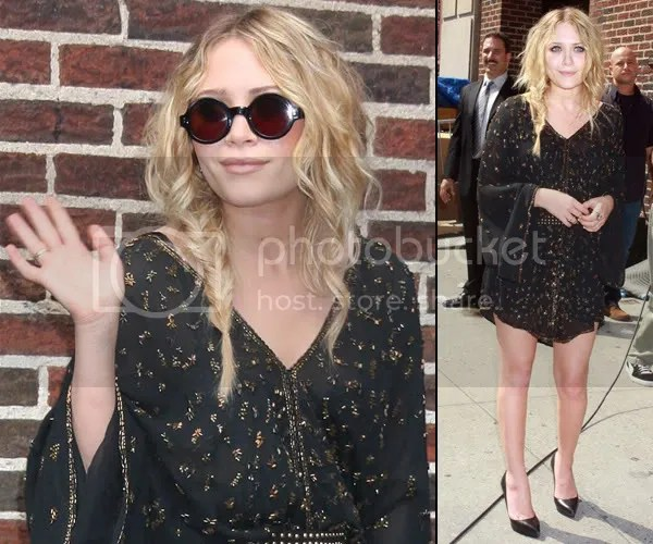 Mary-Kate Olsen in the round sunglasses trend