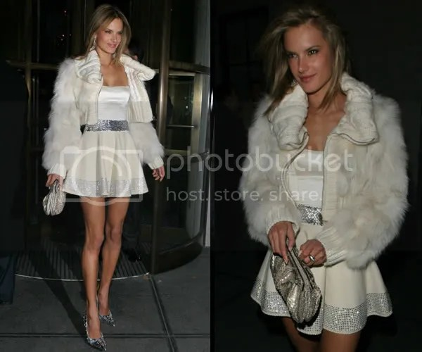 Alessandra Ambrosio wearing fur