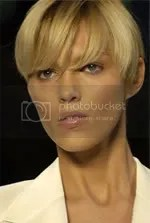 Model Anja Rubik's cropped hair style