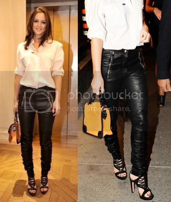 Leighton Meester in leather