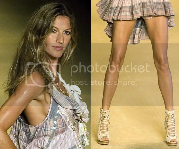 Gisele Bundchen in lace-up shoes at Sao Paulo Fashion Week
