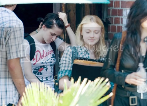 Kristen Stewart with short hair at rehearsals for 'The Runaways'