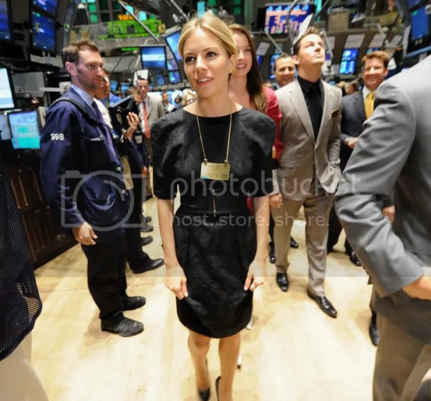 Sienna Miller at the New York Stock Exchange