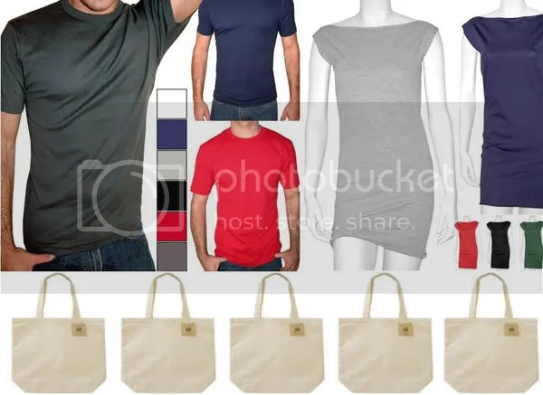 Plain tees and canvas bags available from Amazon.com