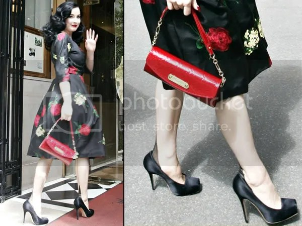Dita Von Teese in square-toed shoes