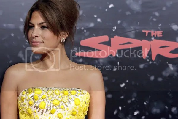 Eva Mendes in a jewel-studded dress