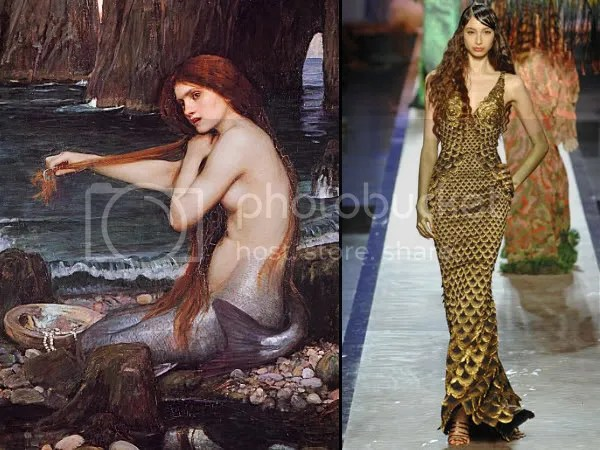 John William Waterhouse and Jean Paul Gaultier's mermaids