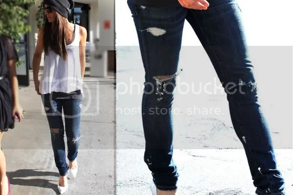 Kate Beckinsale ripped denim jeans fashion