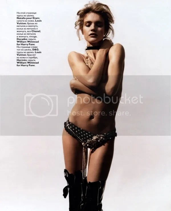 Natalia Vodianova in thigh-high boots