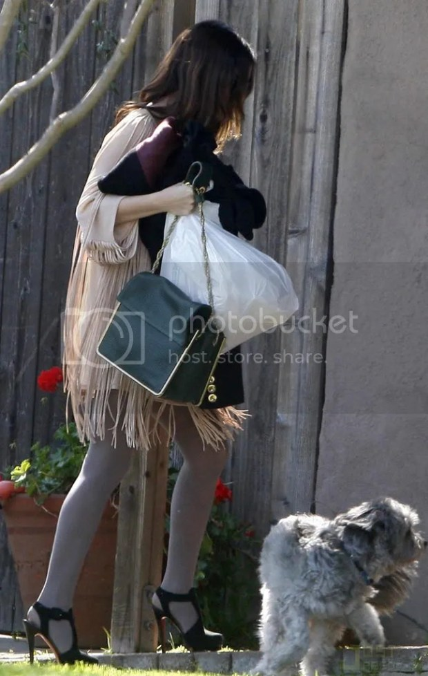 Rachel Bilson street style, fringed dress and Louboutins