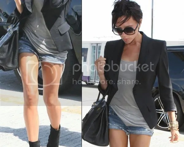 Victoria Beckham in ripped denim shorts