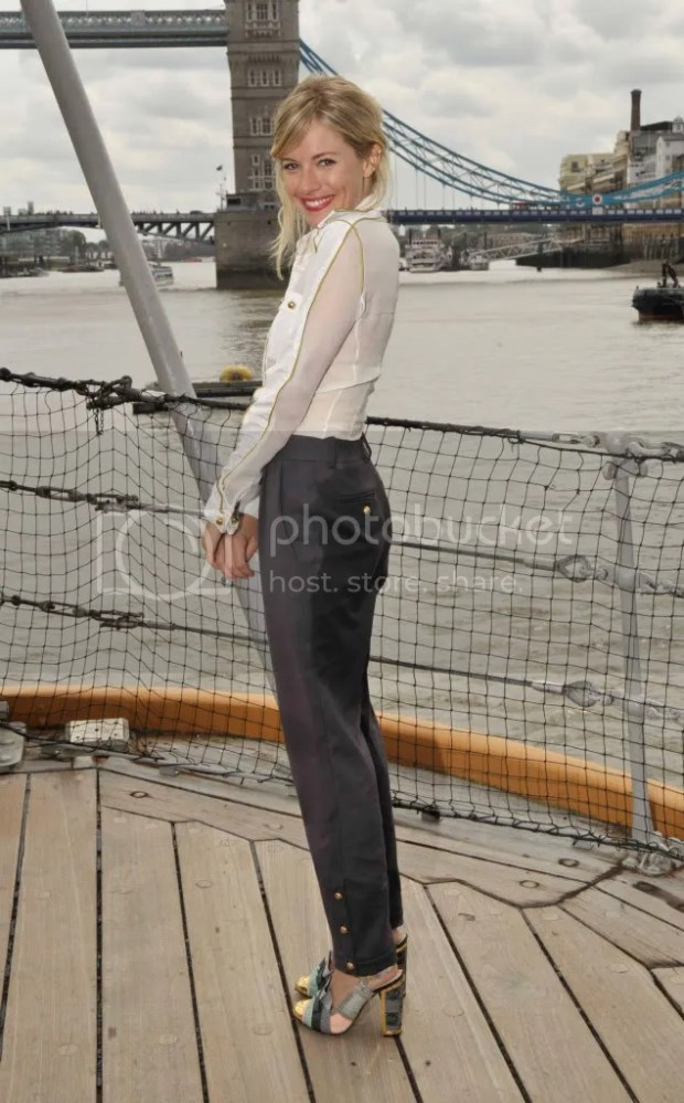 Sienna Miller on HMS Belfast in London
