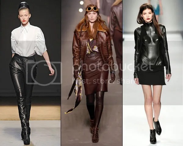 Leather trend on the runway