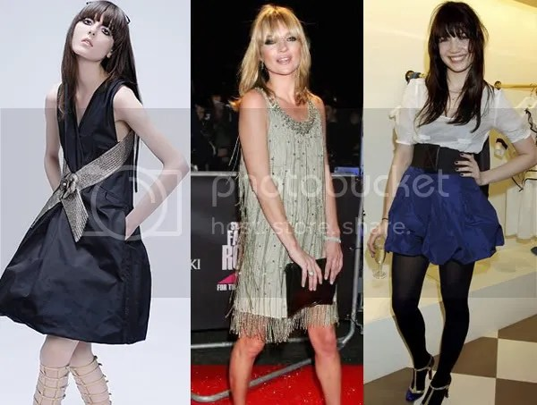 Celebrities with fringes: Kate Moss, Irina and Daisy Lowe