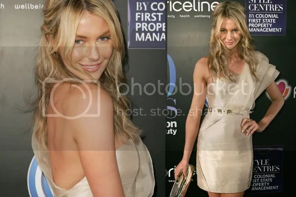 Jennifer Hawkins in one-shouldered dress