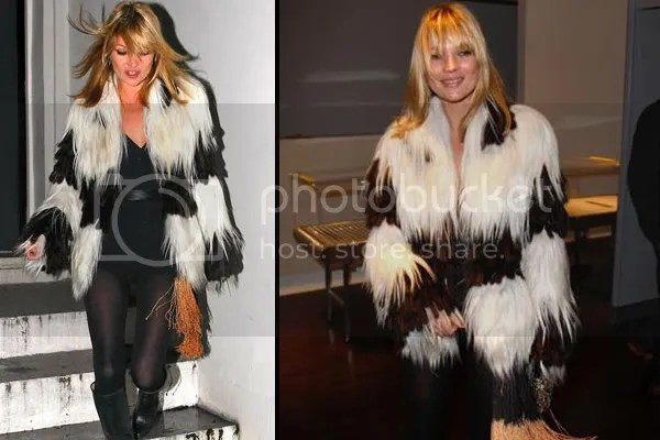 Kate Moss in fur and leotard