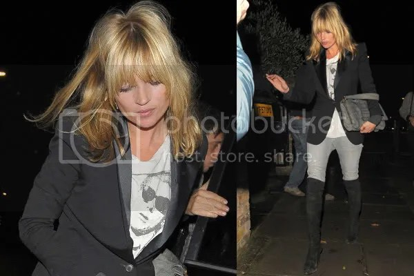 Kate Moss in a black dinner jacket