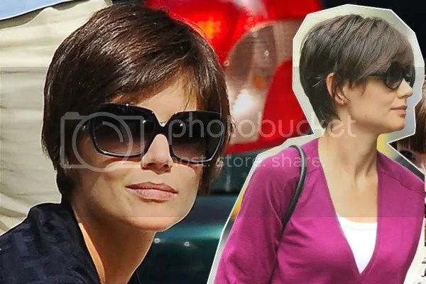Katie Holmes cropped hair style