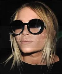 Mary-Kate Olsen in round-framed gradient sunglasses
