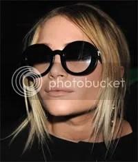 Mary-Kate Olsen in round-framed gradient sunglasses