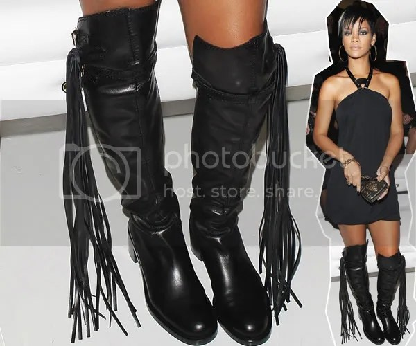 Rihanna wearing Gucci fringed bohemian boots