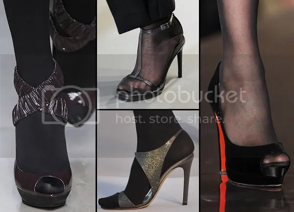 Open-toe shoes with stockings - 2008 trend