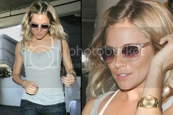 Sienna Miller in gradient plastic framed sunglasses