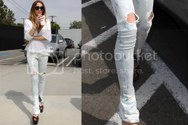 Lindsay Lohan in ripped denim jeans from Balmain